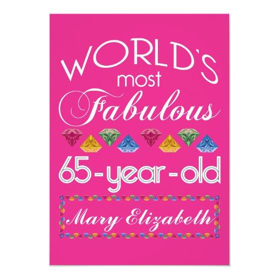 65th Birthday Most Fabulous Colorful Gems Pink Invitation