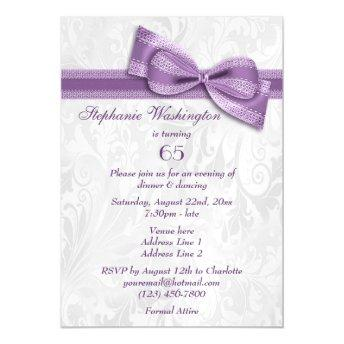 65th Birthday Party Damask and Faux Bow Magnetic