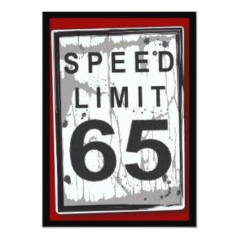 65th Birthday Party Grungy Speed Limit Sign