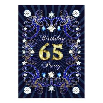 65th birthday party invite with masses of jewels