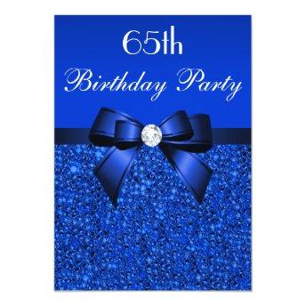 65th Birthday Royal Blue Sequins Bow and Diamond