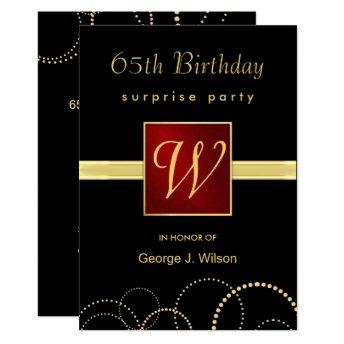 65th Birthday Surprise Party - Elegant Monogram Invitation