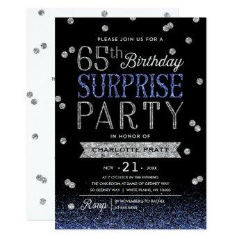 65th Blue Silver Glitter Confetti Surprise Party Invitation