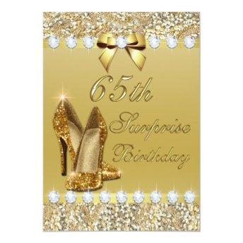 65th Surprise Birthday Gold Heels Sequins Diamonds Invitation