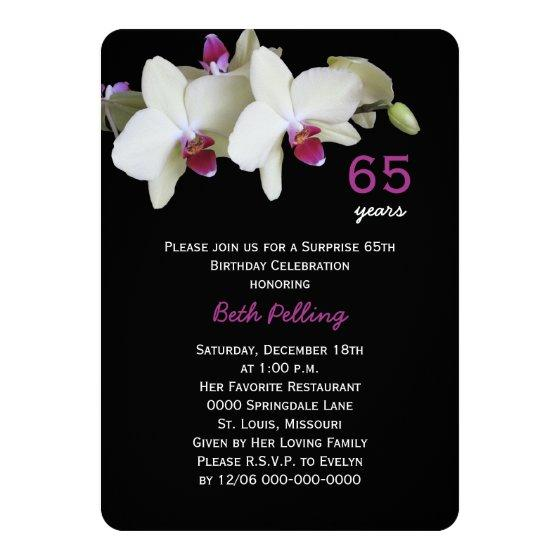 226 65th Surprise Birthday Party Floral Orchid Invitation