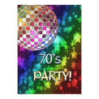 70s  with disco ball and rainbow of star