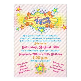 70s Theme Groovy Flower Power 50th Birthday Party Invitation
