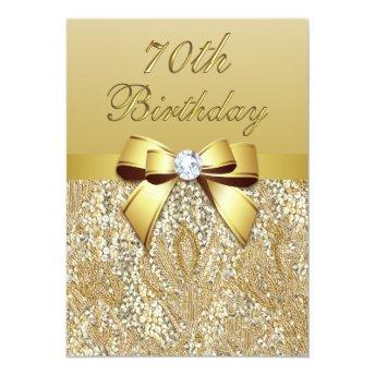 70th Birthday Gold Faux Sequins and Bow