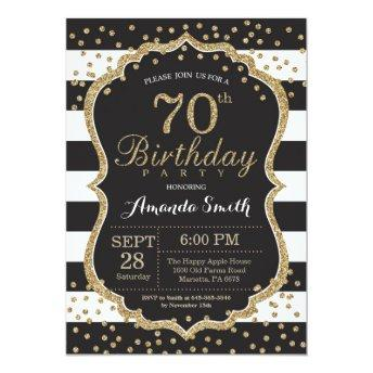 70th Birthday Invitation. Black and Gold Glitter Invitation