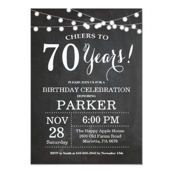 70th Birthday Invitation Chalkboard