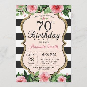 70th Birthday Invitation Women. Floral Gold Black