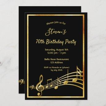 70th birthday party black and gold music notes invitation