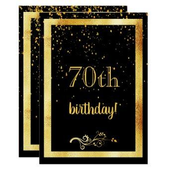 70th birthday party gold frame black