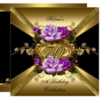70th Birthday Party Roses Purple Gold Black Invitation