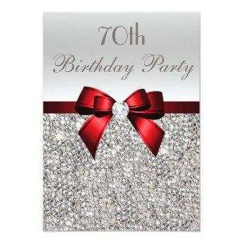 70th Birthday Party Silver Sequins Red Bow