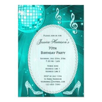 70th Birthday Sparkle Heels and Teal Disco Ball Magnetic Invitation