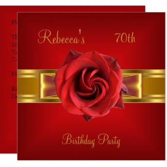 70th Colorful Royal Red Flower Yellow Gold Bow Invitation