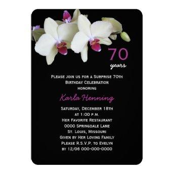 70th Surprise Birthday Party Orchid on Black Invitation