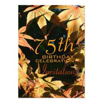 75th Birthday Celebration Autumn Custom Invitation
