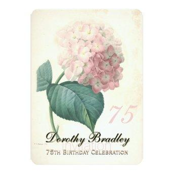 75th Birthday Party Botanical Hydrangea Invitation