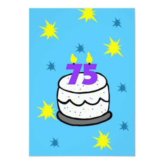 211 75th Birthday Party Invitation Cake 75 Candle