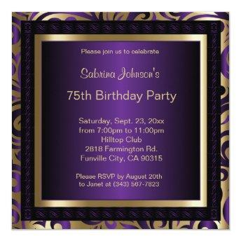 75th Birthday Party Purple and Gold