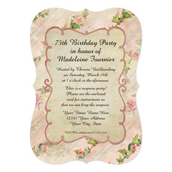 75th Birthday Party Scroll Frame W Vintage Roses Invitation