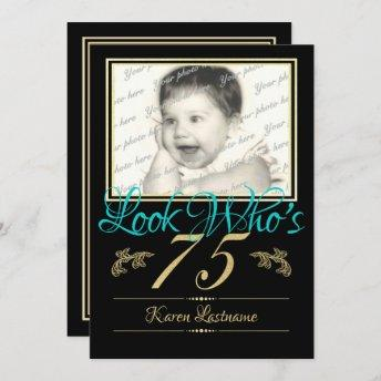 75th Birthday Party with Photo Invitation