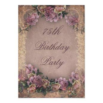 75th Birthday Romantic Vintage Roses and Lace