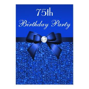 75th Birthday Royal Blue Sequins Bow and Diamond