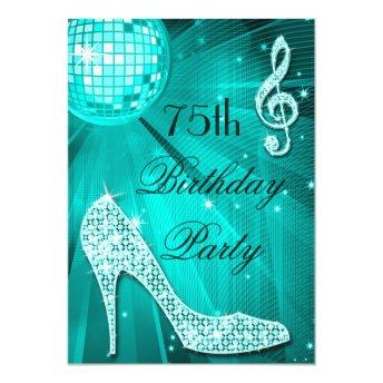 75th Birthday Sparkle Heels and Teal Disco Ball Invitation