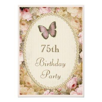 75th Birthday Vintage Roses Butterfly, Music Notes