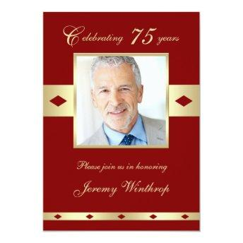 75th Photo Birthday Party Invitation Burgundy 75