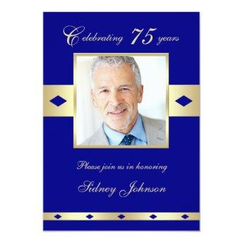 75th Photo Birthday Party Invitation Navy 75