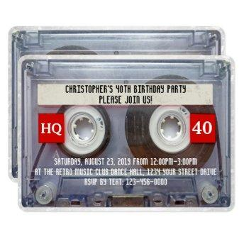 80s Cassette Mixtape 40th Birthday Party Invitation