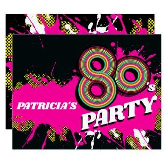 80's Party birthday or event retro pink invites