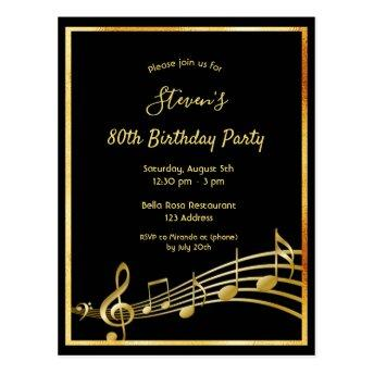 80th birthday black gold music notes invitation