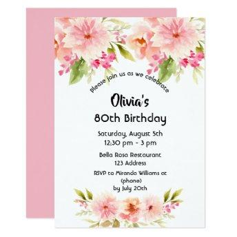 80th birthday coral dahlia flowers pastel pink invitation