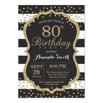 80th Birthday . Black and Gold Glitter