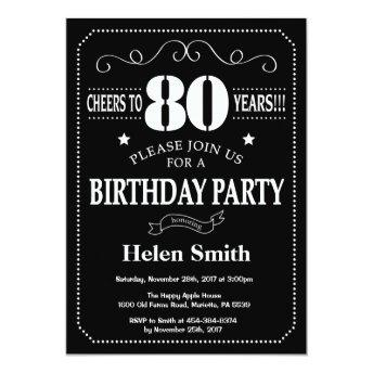 80th Birthday Invitation Chalkboard