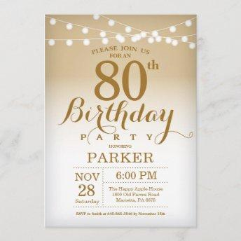 80th Birthday Invitation Gold String Lights
