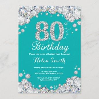 80th Birthday Invitation Teal and Silver Diamond