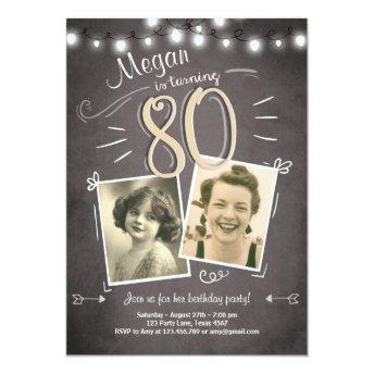 80th Birthday Invitation Vintage Eighty