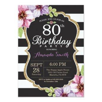80th Birthday Invitation Women. Floral Gold Black