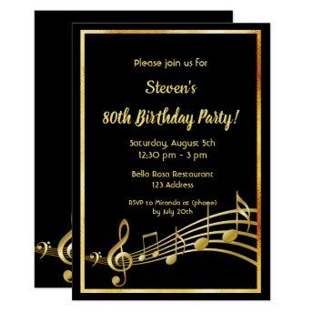 80th birthday party black and gold mustic notes invitation