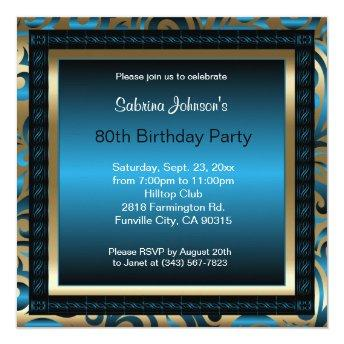 80th Birthday Party | Blue Metallic & Gold
