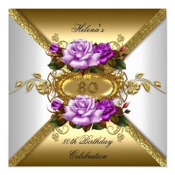 80th Birthday Party Elegant Roses Purple Gold 2