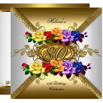 80th  Party Multi Color Gold Roses