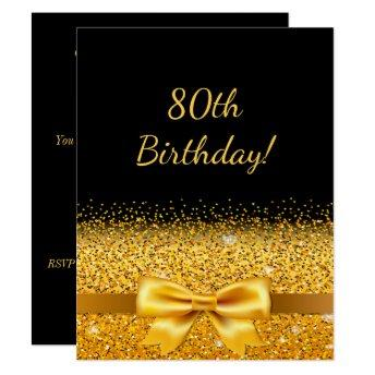 80th birthday party on black with gold bow sparkle invitation