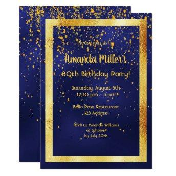 80th birthday party on midnight blue gold frame invitation